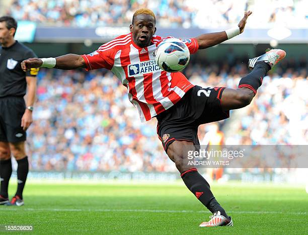 Sunderland's French striker Louis Saha prepares to shoot during the English Premier League football match between Manchester City and Sunderland at...