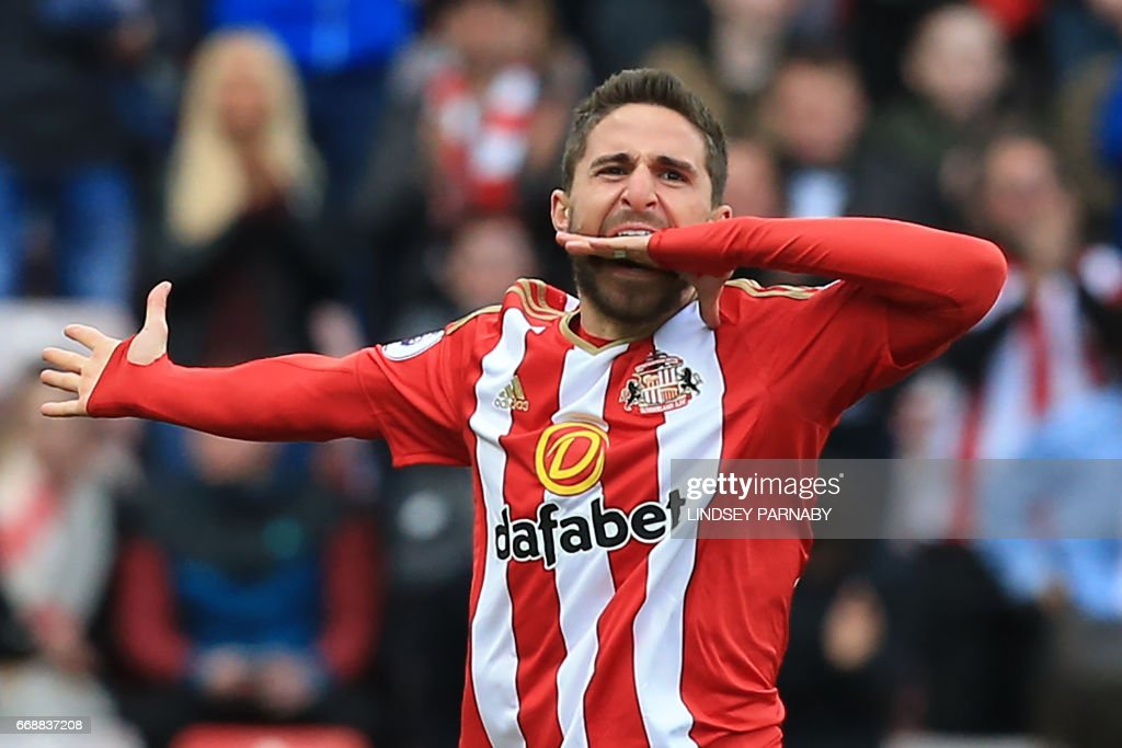 Sunderland's Italian striker Fabio Borini celebrates scoring their second goal during the English Premier League football match between Sunderland and West Ham United at the Stadium of Light in Sunderland, north-east England on April 15, 2017. / AFP PHOTO / Lindsey PARNABY / RESTRICTED TO EDITORIAL USE. No use with unauthorized audio, video, data, fixture lists, club/league logos or 'live' services. Online in-match use limited to 75 images, no video emulation. No use in betting, games or single club/league/player publications. /