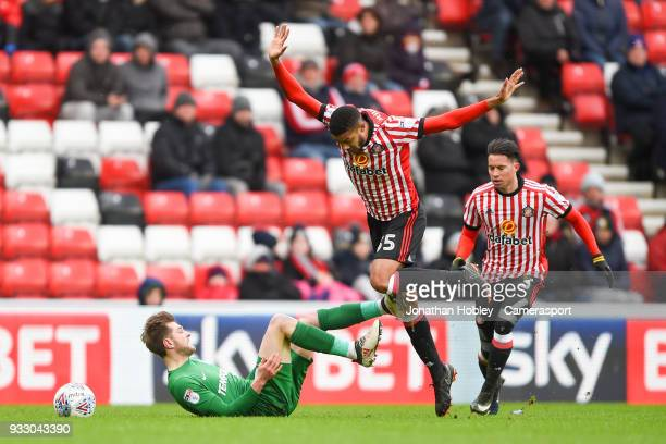 Sunderland's Jake ClarkeSalter fouls Preston's Tom Barkhuizen during the Sky Bet Championship match between Sunderland and Preston North End at...