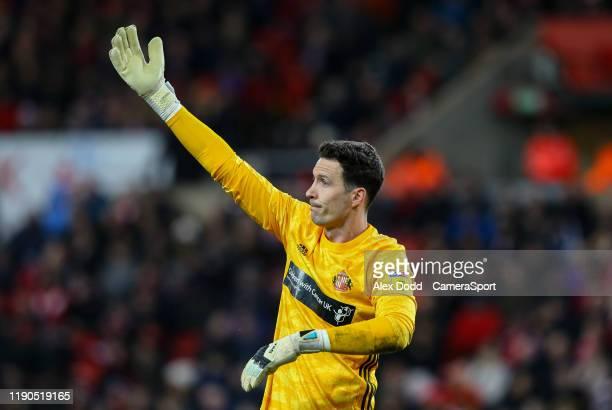 Sunderland's Jon McLaughlin gestures during the Sky Bet League One match between Sunderland and Bolton Wanderers at Stadium of Light on December 26...