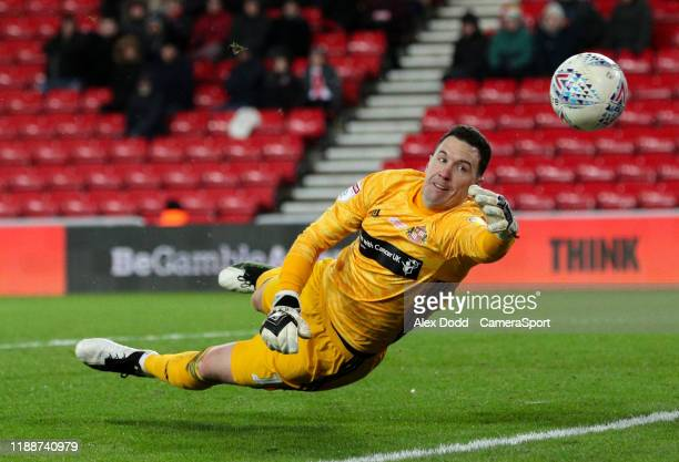 Sunderland's Jon McLaughlin tries in vain to keep the ball in play during the Sky Bet League One match between Sunderland and Blackpool at Stadium of...