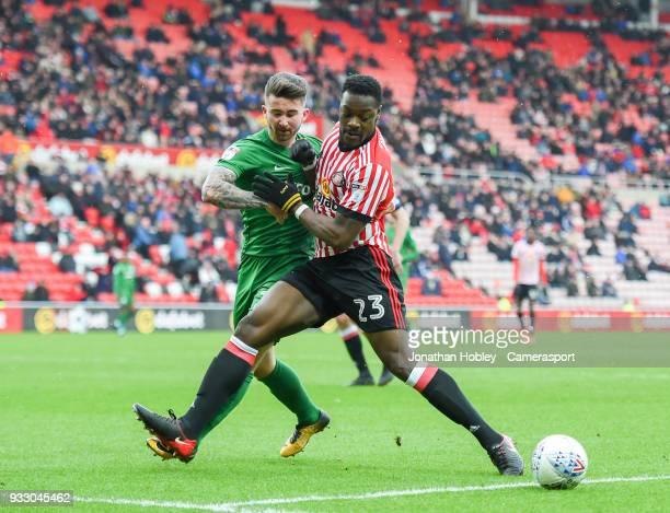 Sunderland's Lamine Kone blocks Preston's Sean Maguire during the Sky Bet Championship match between Sunderland and Preston North End at Stadium of...