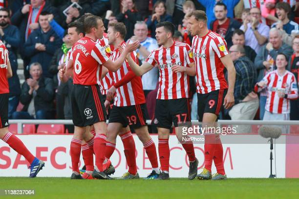 Sunderland's Lewis Morgan celebrates scoring his side's first goal during the Sky Bet League 1 match between Sunderland and Doncaster Rovers at the...