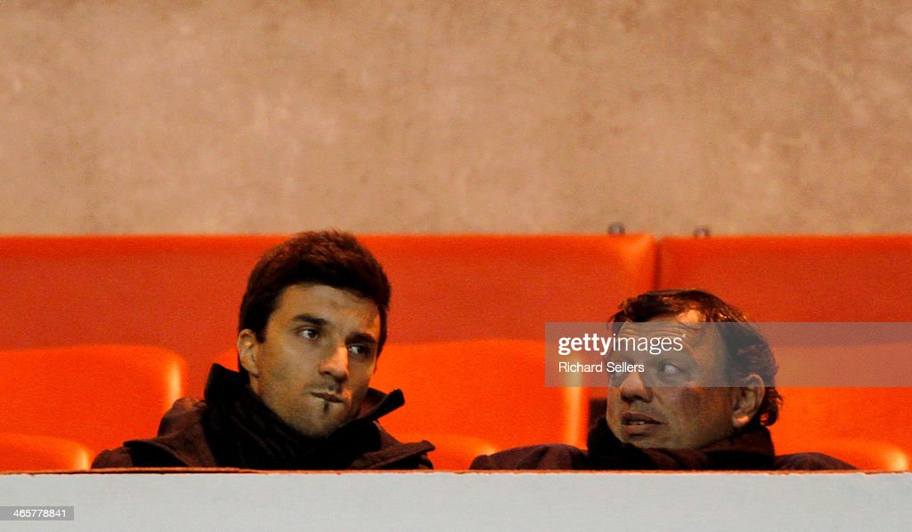 Sunderland's new Argentine signing Ignacio Scocco looks on from the stand during the Barclays Premier League match between Sunderland and Stoke City at Stadium of Light on January 29, 2014 in Sunderland, England.