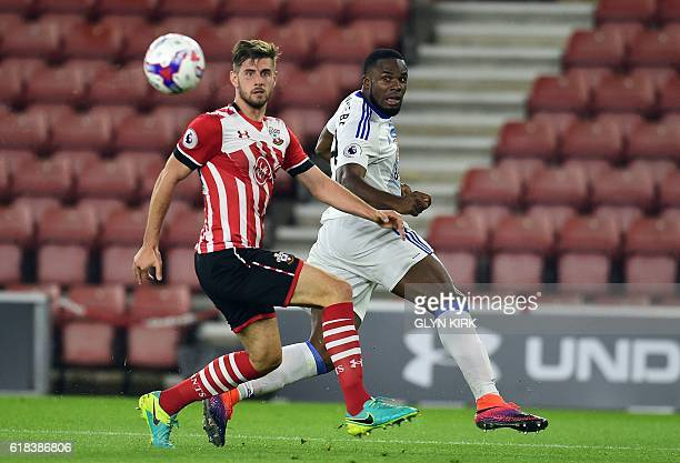Sunderland's Nigerian striker Victor Anichebe vies with Southampton's English defender Jack Stephens during the EFL Cup fourth round match between...