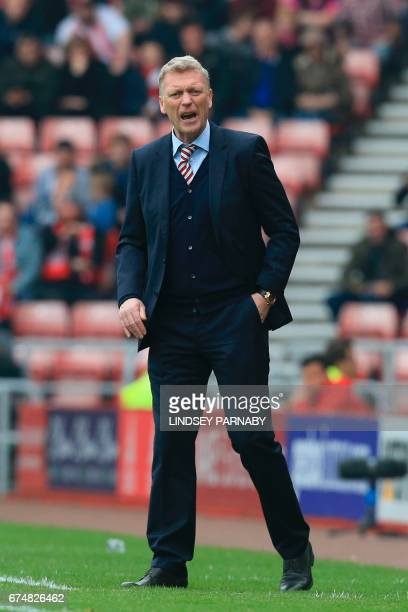 Sunderland's Scottish manager David Moyes gestures from the touchline during the English Premier League football match between Sunderland and...
