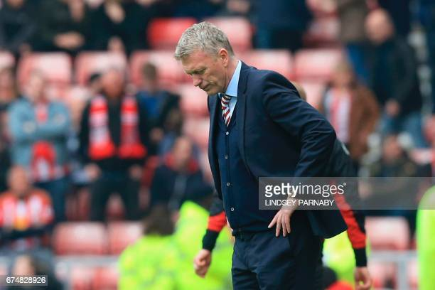 Sunderland's Scottish manager David Moyes reacts after Bournemouth score during the English Premier League football match between Sunderland and...