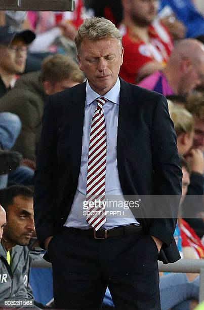 Sunderland's Scottish manager David Moyes reacts during the English Premier League football match between Sunderland and Everton at the Stadium of...