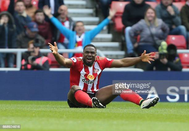 Sunderland's Victor Anichebe appeals for a freekick during the Premier League match between Sunderland and West Ham United at Stadium of Light on...