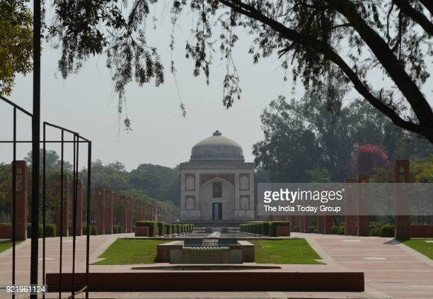 Sunderwala Burj tomb in Sunder Nursery a 16thcentury heritage garden complex adjacent to Indian Unesco site Humayuns Tomb in New Delhi