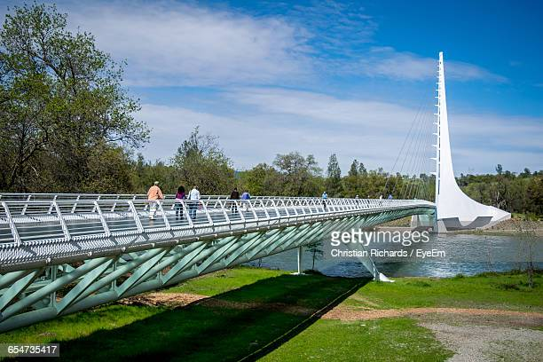 Sundial Bridge At Turtle Bay Against Cloudy Sky On Sunny Day