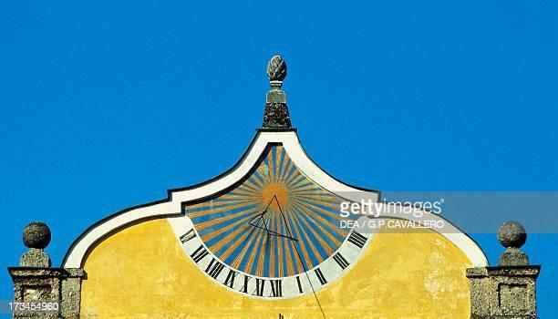 Sundial on the facade of a building in Salzburg Austria