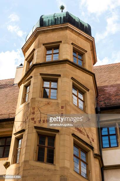 Sundial on the tower in Rothenburg ob der Tauber, Germany