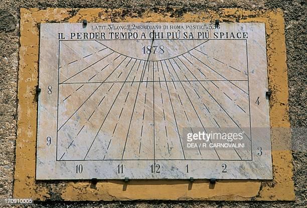 Sundial side wall of the Church of Maria Santissima Assunta Palazzo Adriano Sicily Italy