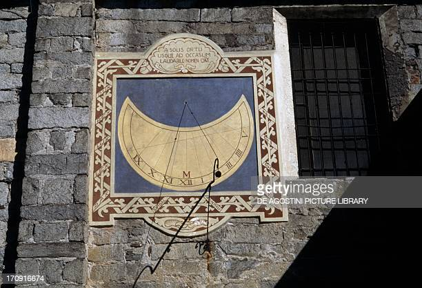 Sundial southern facade of the Church of Sant'Ambrogio Omegna Piedmont Italy