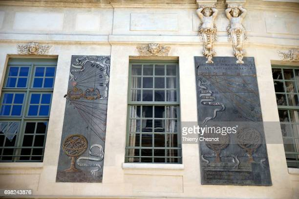 Sundials of the Hotel des Ambassadeurs de Hollande are seen on June 13 2017 in Paris France The facades are decorated with sundials painted by Father...