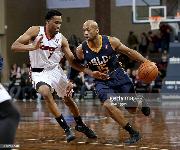 Sundiata Gaines from the Salt Lake City Stars drives against Luis Montero from the Sioux Falls Skyforce during their game at the Sanford Pentagon...
