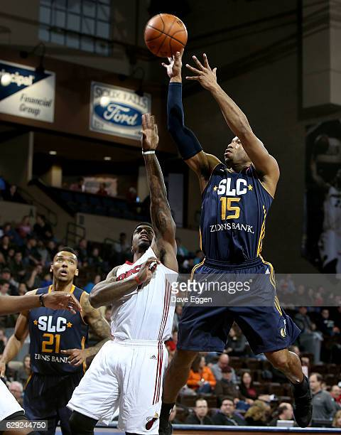 Sundiata Gaines from the Salt Lake City Stars shoots the ball against the Sioux Falls Skyforce during their game at the Sanford Pentagon December 11...