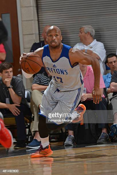 Sundiata Gaines of the Detroit Pistons dribbles the ball against the Los Angeles Clippers during the Orlando Summer League on July 5 2015 at Amway...