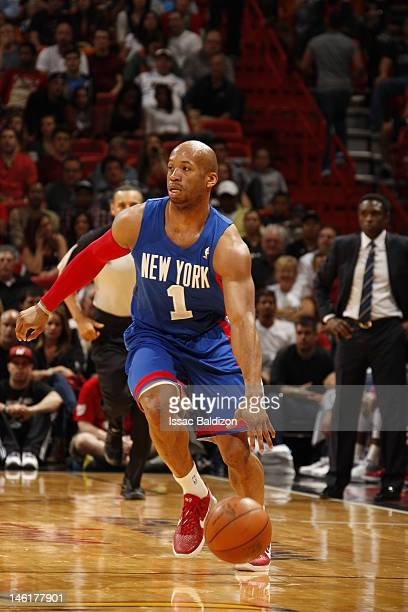 Sundiata Gaines of the New Jersey Nets handles the ball against the Miami Heat on March 6 2012 at American Airlines Arena in Miami Florida NOTE TO...