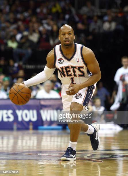 Sundiata Gaines of the New Jersey Nets looks to pass the ball against the Boston Celtics at Prudential Center on April 14 2012 in Newark New Jersey...