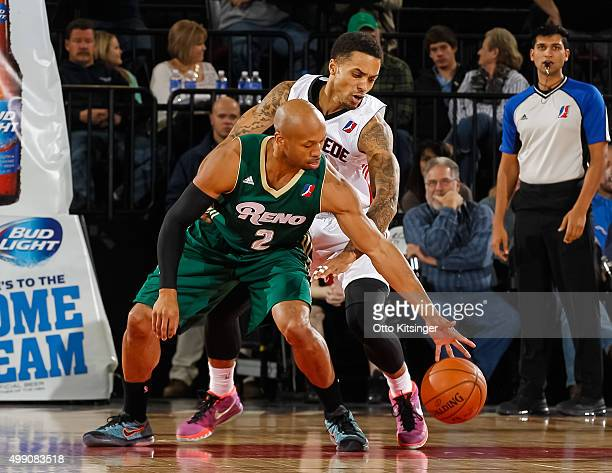 Sundiata Gaines of the Reno Bighorns reaches for the ball past Brandon Fields of the Idaho Stampede at CenturyLink Arena on November 28 2015 in Boise...