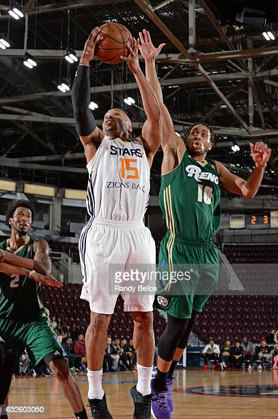 Sundiata Gaines of the Salt Lake City Star drives to the basket against the Reno Bighorns as part of 2017 NBA DLeague Showcase at the Hershey Centre...