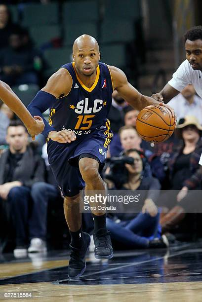 Sundiata Gaines of the Salt Lake City Stars brings the ball up court against the Austin Spurs at the HEB Center At Cedar Park on December 3 2016 in...