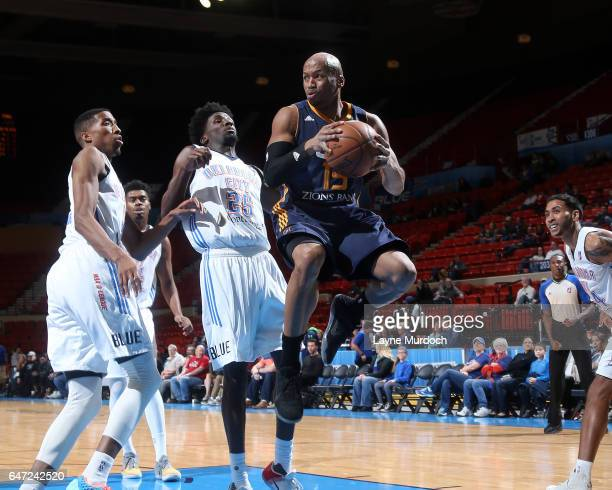 Sundiata Gaines of the Salt Lake City Stars grabs a rebound against the Oklahoma City Blue during an NBA DLeague game on February 25 2017 at the Cox...