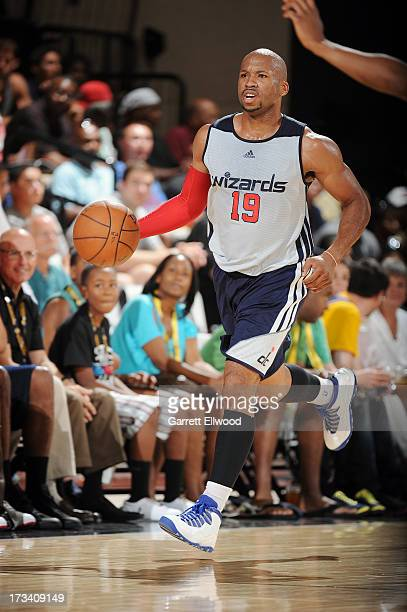 Sundiata Gaines of the Washington Wizards dribbles up the court against the Golden State Warriors during NBA Summer League on July 13 2013 at the Cox...