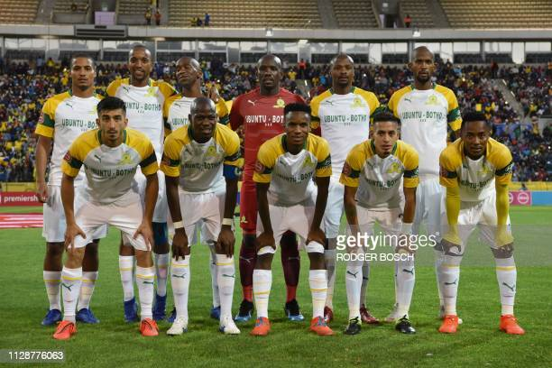 Sundown's players pose for a team photograph before the Premier Soccer League football match between Cape Town City and Mamelodi Sundowns at Cape...