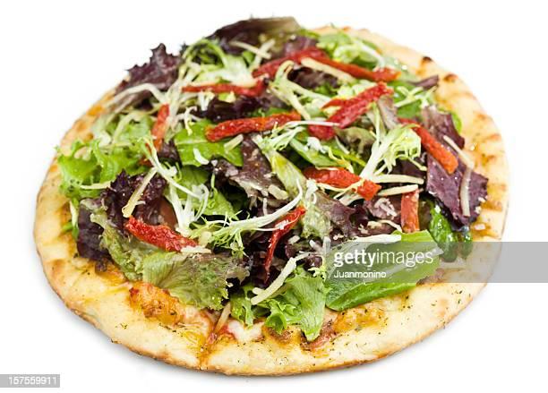 Salade de tomates confites et de greens pizza