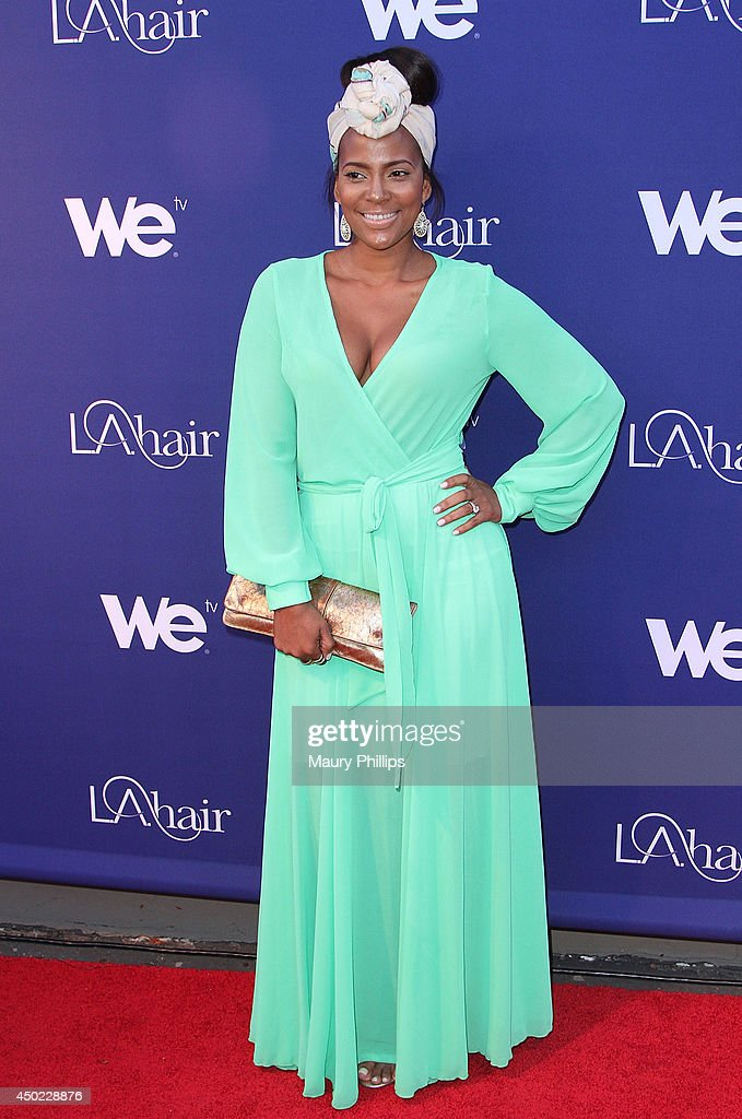 Sundy Carter arrives at 'L.A. Hair' Season 3 premiere party at Kimble Hair Studio and Extension Bar on May 21, 2014 in Los Angeles, California.
