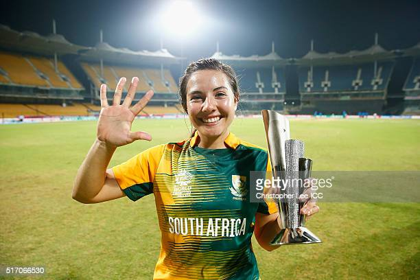 Sune Luus of South Africa celebrates winning the Player of the Match after taking 5 wickets during the Women's ICC World Twenty20 India 2016 Group A...