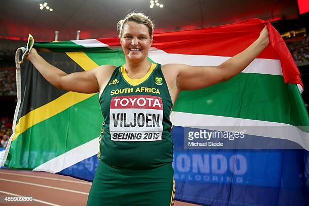 Sunette Viljoen of South Africa celebrates after winning bronze in the Women's Javelin final during day nine of the 15th IAAF World Athletics...
