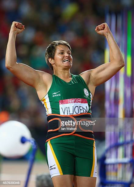Sunette Viljoen of South Africa celebrates in the Women's Javelin final at Hampden Park during day seven of the Glasgow 2014 Commonwealth Games on...
