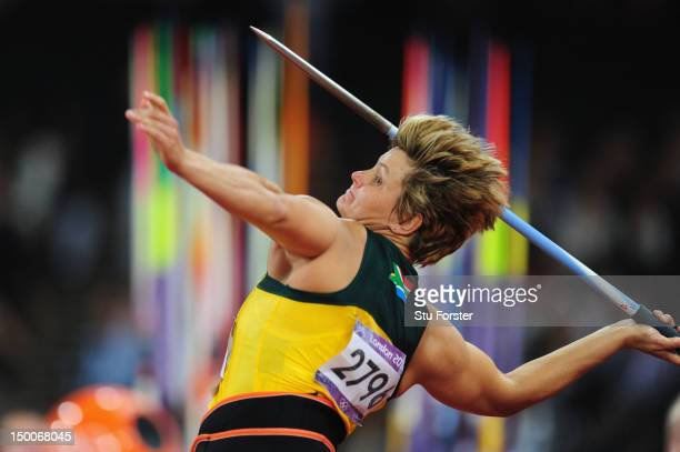 Sunette Viljoen of South Africa competes during the Women's Javelin Throw Final on Day 13 of the London 2012 Olympic Games at Olympic Stadium on...