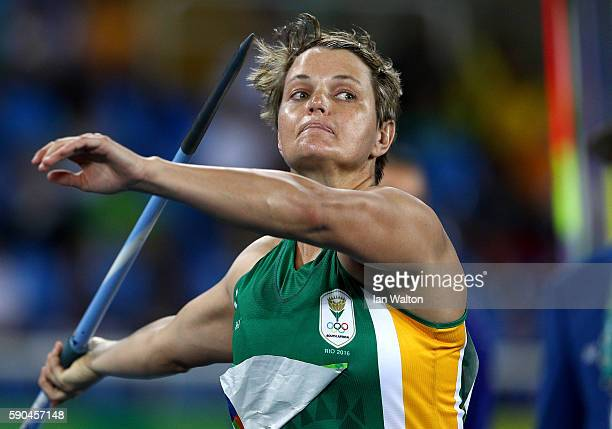 Sunette Viljoen of South Africa competes during the Women's Javelin Throw Qualifying Round on Day 11 of the Rio 2016 Olympic Games at the Olympic...