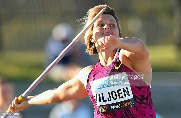 Sunette Viljoen of South Africa competes in the Women's Javelin during the IAAF Melbourne World Challenge at Lakeside Stadium on March 21 2015 in...