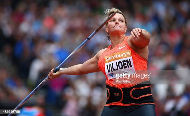 Sunette Viljoen of South Africa competes in the Womens Javelin during day two of the Sainsbury's Anniversary Games at The Stadium Queen Elizabeth...