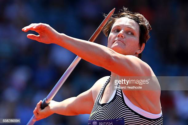 Sunette Viljoen of South Africa competes in the Women's Javelin during the IAAF Diamond League meeting at Alexander Stadium on June 5 2016 in...