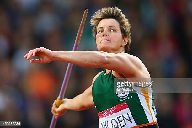 Sunette Viljoen of South Africa competes in the Women's Javelin final at Hampden Park during day seven of the Glasgow 2014 Commonwealth Games on July...