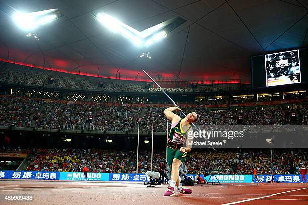 Sunette Viljoen of South Africa competes in the Women's Javelin final during day nine of the 15th IAAF World Athletics Championships Beijing 2015 at...