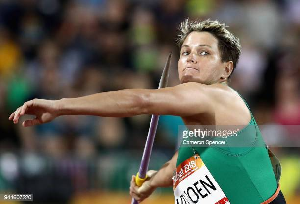 Sunette Viljoen of South Africa competes in the Women's Javelin final during athletics on day seven of the Gold Coast 2018 Commonwealth Games at...