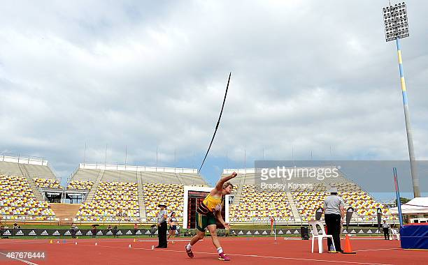 Sunette Viljoen of South Africa competes in the Women's Javelin Open event during the Australian Athletics Championships at the Queensland Sports and...