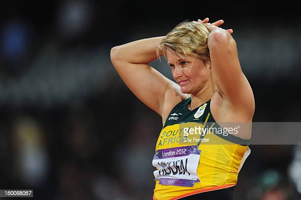 Sunette Viljoen of South Africa reacts after competing during the Women's Javelin Throw Final on Day 13 of the London 2012 Olympic Games at Olympic...
