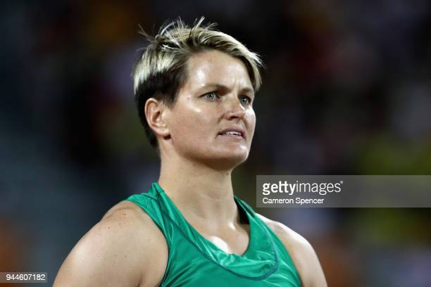 Sunette Viljoen of South Africa reacts as she competes in the Women's Javelin final during athletics on day seven of the Gold Coast 2018 Commonwealth...
