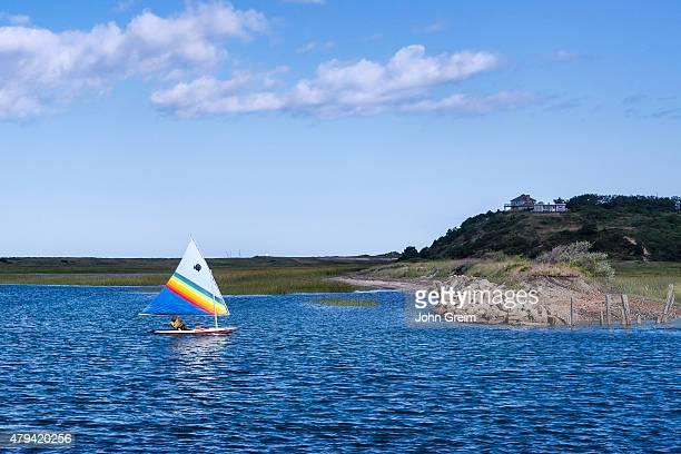 Sunfish sailing in Pamet Harbor Truro Cape Cod Massachusetts USA