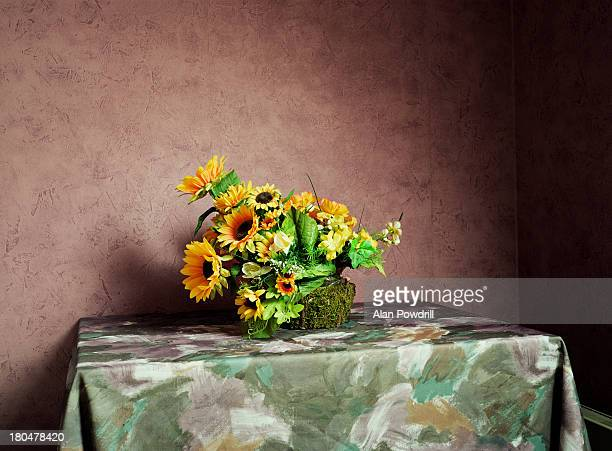 Sunflower basket on table