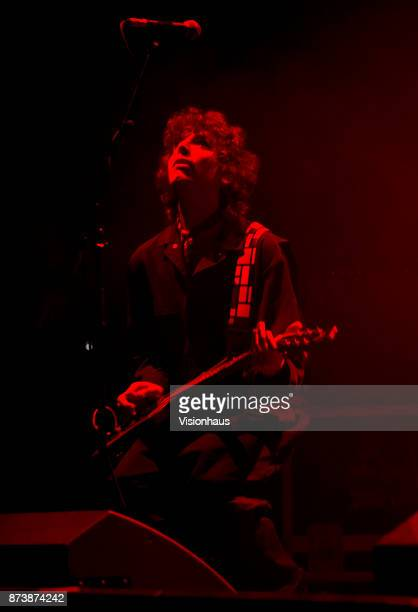 Sunflower Bean guitarist Nick Kivlen performs with the band as support to Wolf Alice at the O2 Apollo Manchester on November 9 2017 in Manchester...